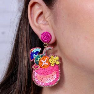 NWT Rum Punch Cocktail Earring Pink